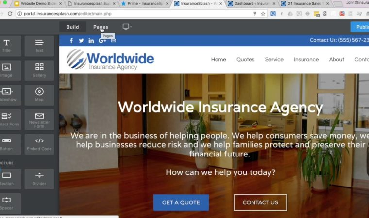 Insurance Agency Website CMS Demo – InsuranceSplash