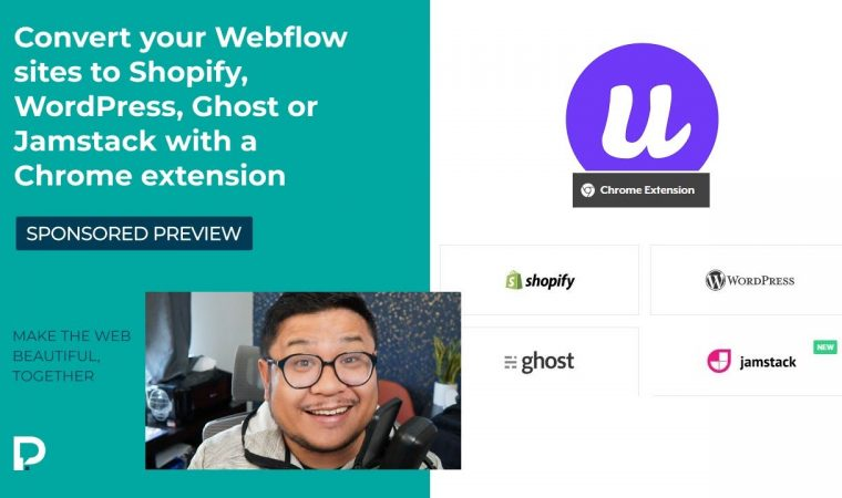 Convert your Webflow site to Shopify, WordPress, Ghost or Jamstack with Udesly's Chrome Extension